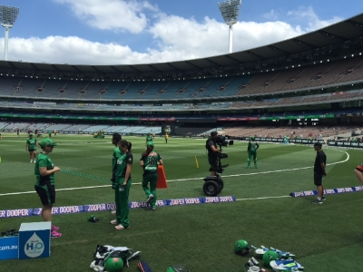 Fielding warm-up at MCG.