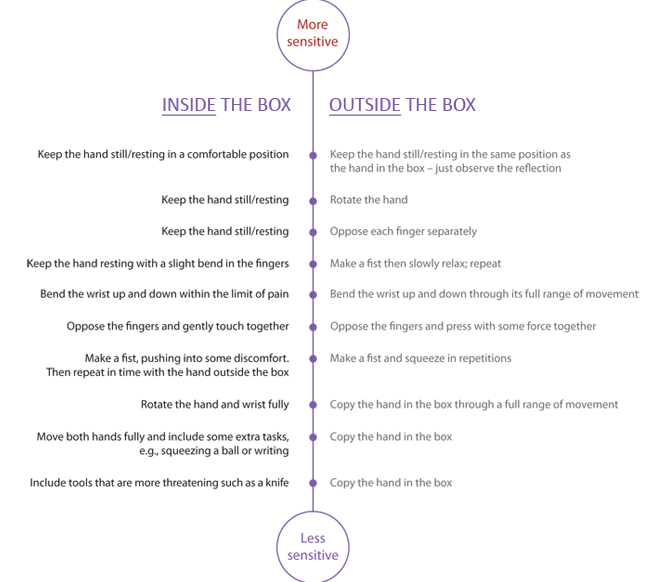 Mirror box therapy progressions. Image courtesy of Google Images