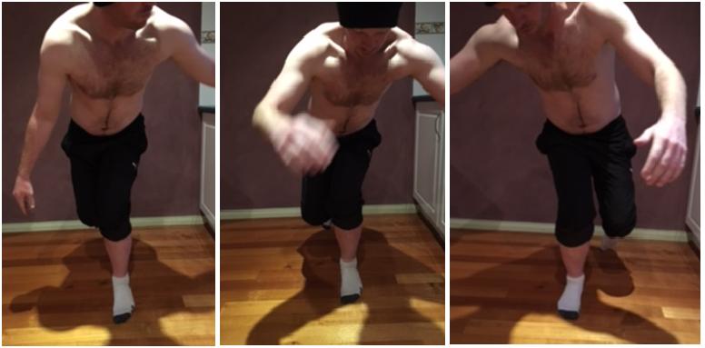 Pic 1 & 2: Left single leg squat Pic 3: Right single leg squat