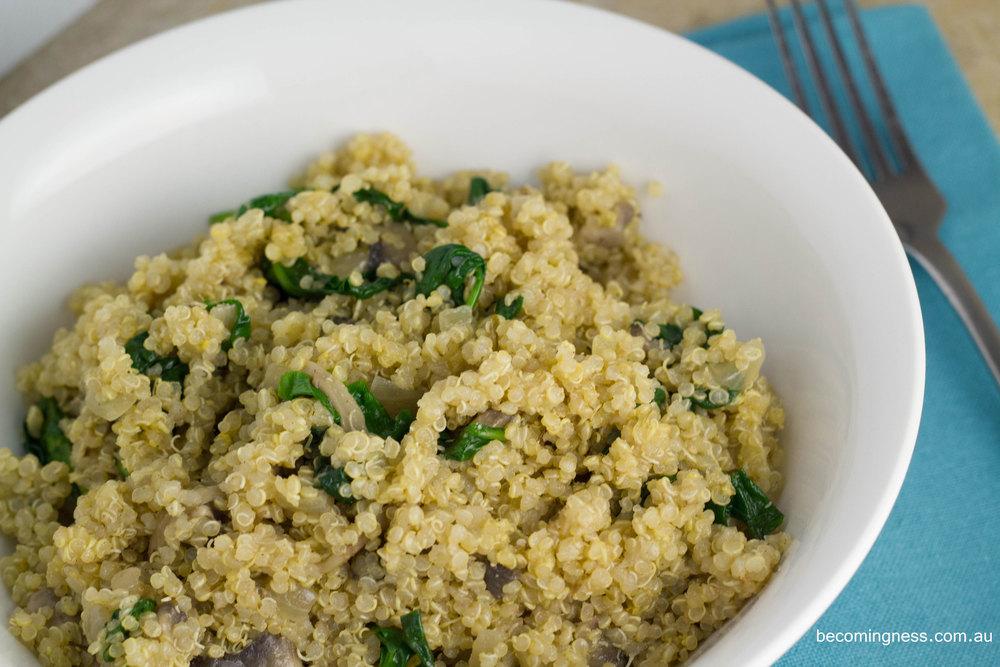 Mushroom-spinach-quinoa-risotto