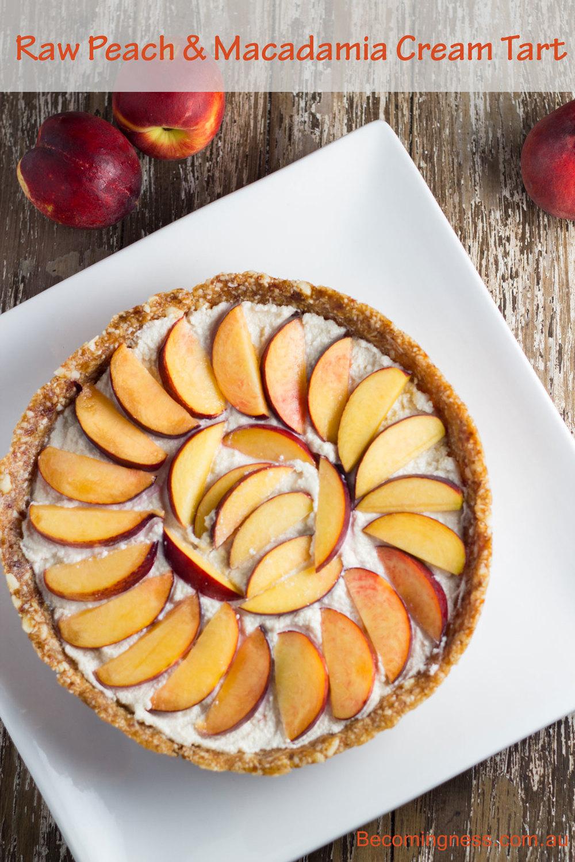 BecomingnessRaw Peach & Macadamia Cream Tart