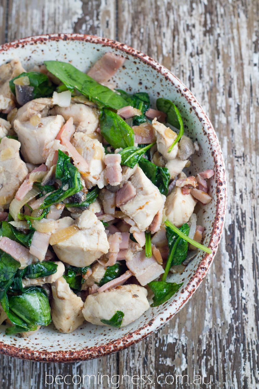Warm-Spinach-Salad-Chicken-Bacon-Mushroom
