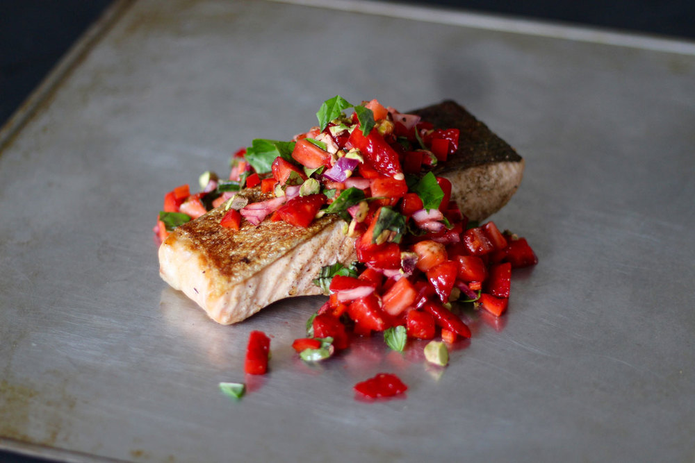 christmas-recipe-countdown-crispy-skinned-salmon-with-strawberry-pistachio-basil-salsa