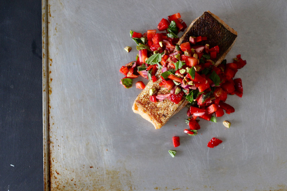 Crispy-Skinned-Salmon-with-Strawberry-Pistachio-Basil-Salsa