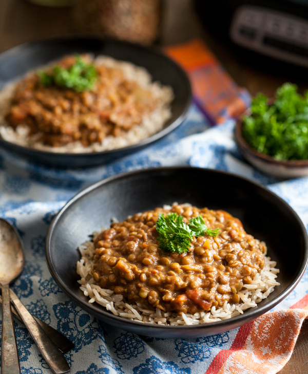 SLOW COOKER MASALA LENTILS - by The Full Helping