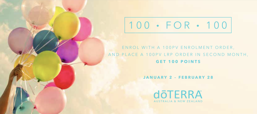 doterra 100 for 100 promotion