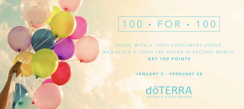 doterra 100 for 100 promotion