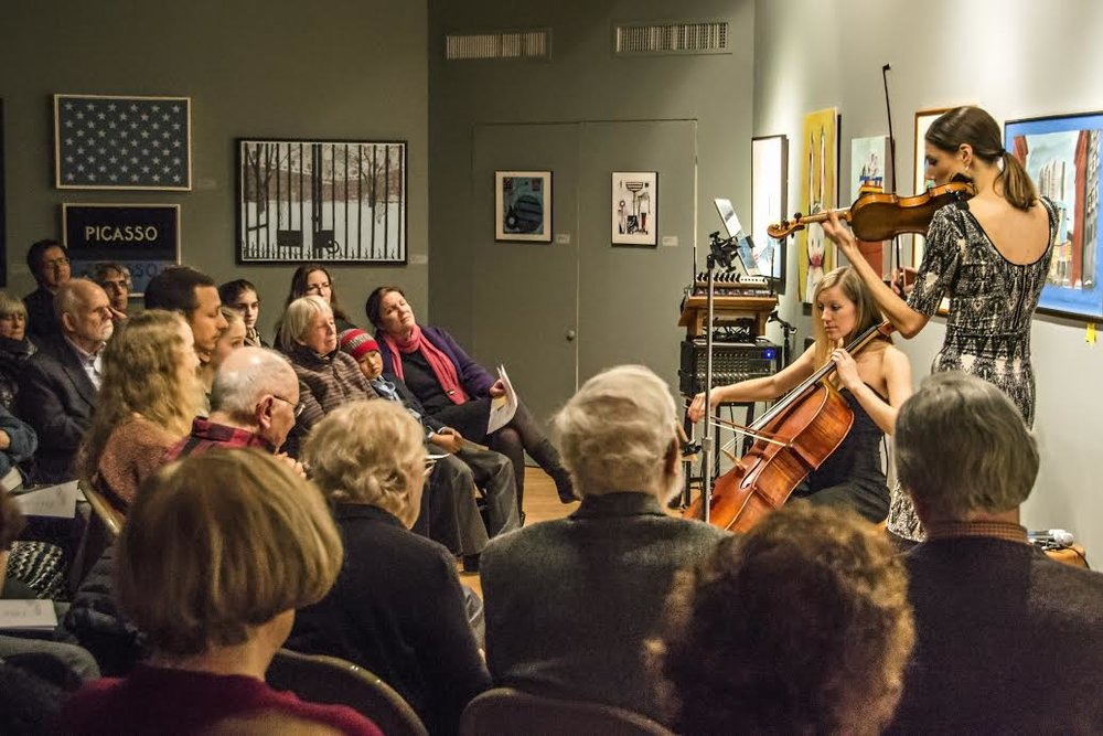 A moment captured from 2016 BEYOND THE NOTES with guest cellist, Laura Metcalf.
