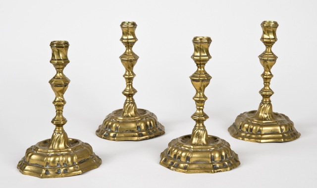 Set of Four 18th C. Brass Candlesticks