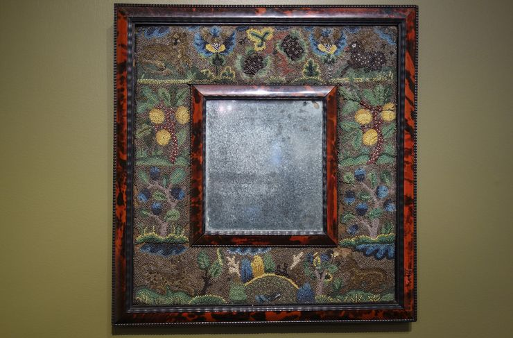 A 17th Century Beadwork Mirror. Photographer: James Tarmy/Bloomberg