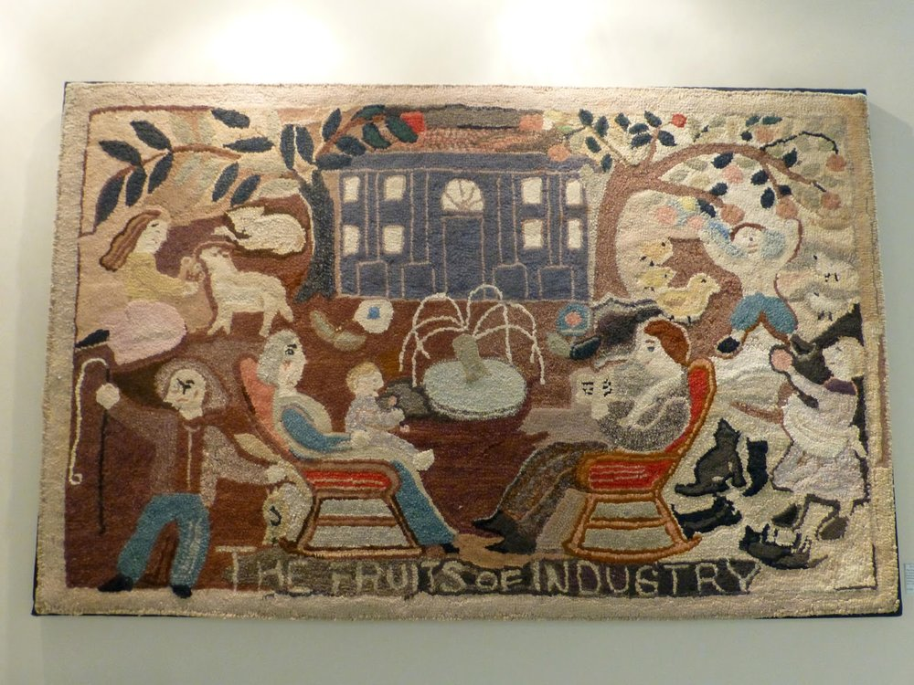 """The Fruits of Industry"", a charming hooked rug designed by James and Mercedes Hutchinson in excellent condition.  American, Ca. 1925-35. Cotton on burlap. Also displayed in their booth is one of Grace and Elliot's favorite paintings, shown below."