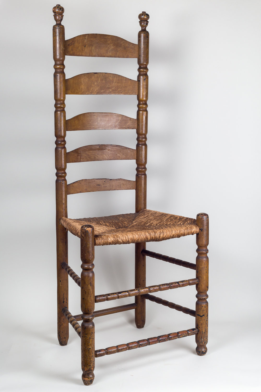 Rare New England 5-Slat Ladderback Side Chair Detail