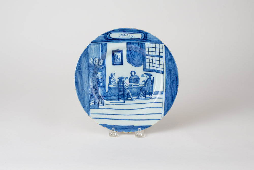 February Dutch Delft Calendar Plate 1