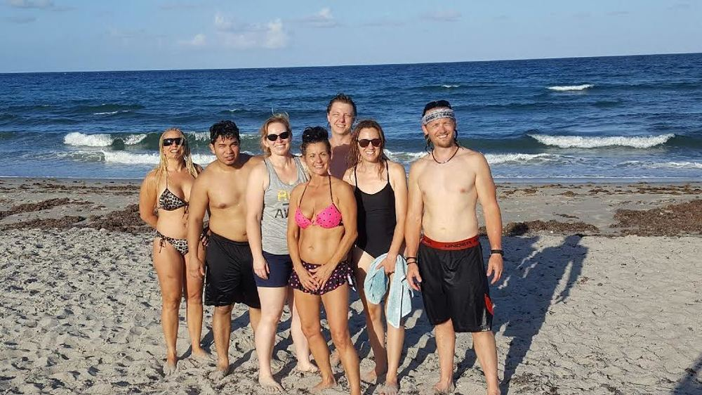 A group of us at the beach in beautiful Del Rey, Florida