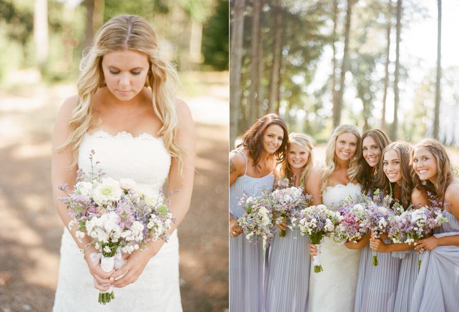 Lavender Bridesmaids at Oregon Wedding