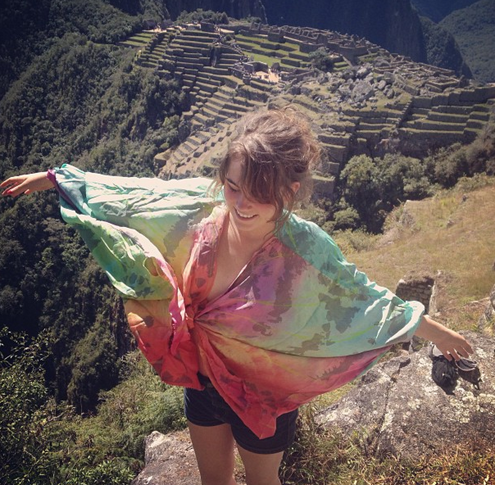 Best friend and summer 2013 traveling companion Georgia at Machu Picchu in a silk cape that I dyed and screenprinted.  The cape was originially inspired by the Madagascan Sunset Moth. I wanted the wearer to have wings but without annoying wire. I cannot count the number of times  at concerts that I have gotten hit in the eye by some festy bezee's wire wing tips.