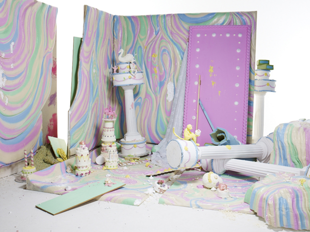 Gary Card, Fashion vs Cakes set design for Pop magazine Spring/Summer 2012, shot by Daniel Sannwald