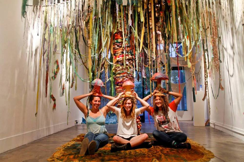 JUNGLE JUICE is a neon aquatic cosmic collaborative textile environment created by Kidden Krew.     KIDDEN KREW is...     Jasmine Williams , Jacqui Jacques  , and  Claire Raymond