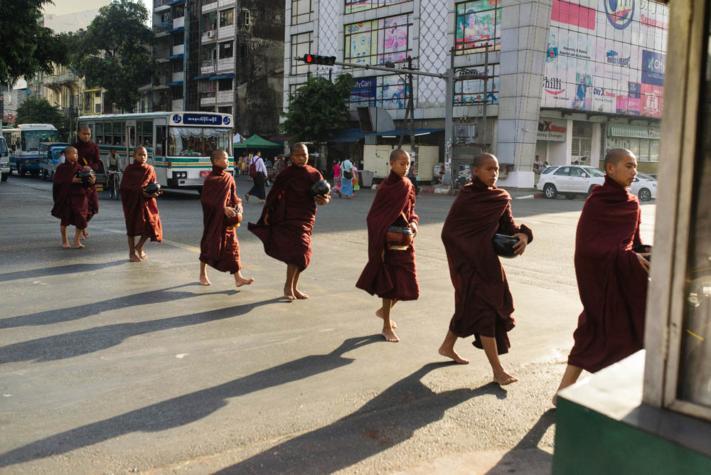 Early morning alms in yangon