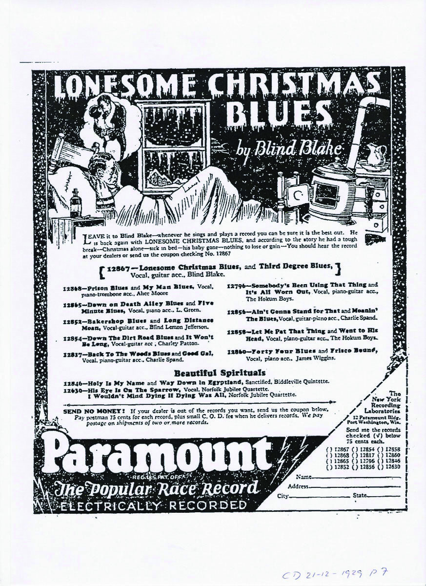 Paramount《Lonesome Christmas》广告单张,1929
