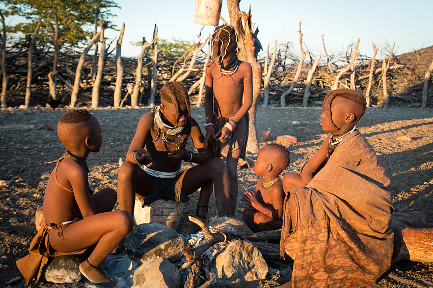 Himba kids getting warm by a new fire in the early morning  -  Canon 5D mkiii, 24-105 @ 45mm, f6.3, 1/160, ISO400