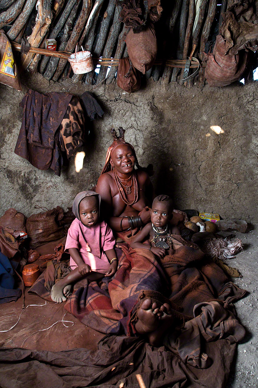 At home with a Himba family  -  Canon 5D mkiii, 24-105 @ 24mm, f6.3, 1/160, ISO160 (off camera flash)