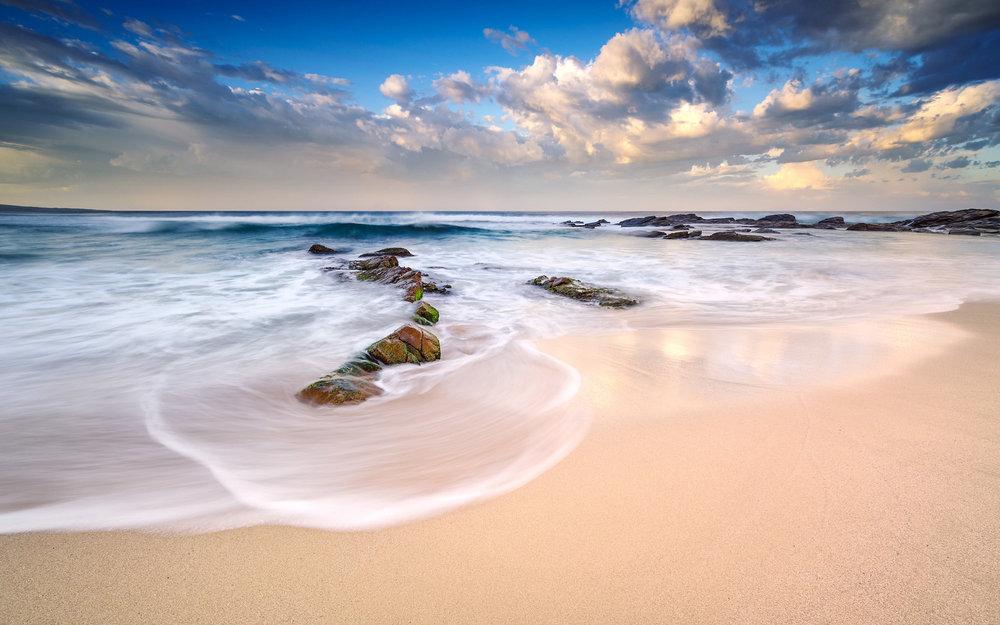 Beautiful morning light over Honeycombes beach.