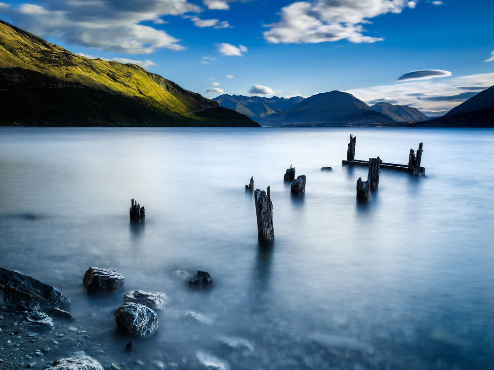 Derelict jetty remains in Lake Wakatipu New Zealand.