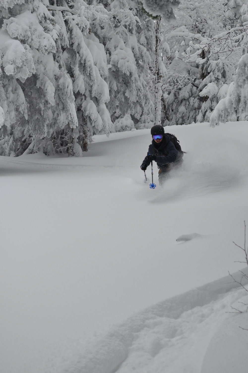 Corey Potter digging a trench on the Killington Tour