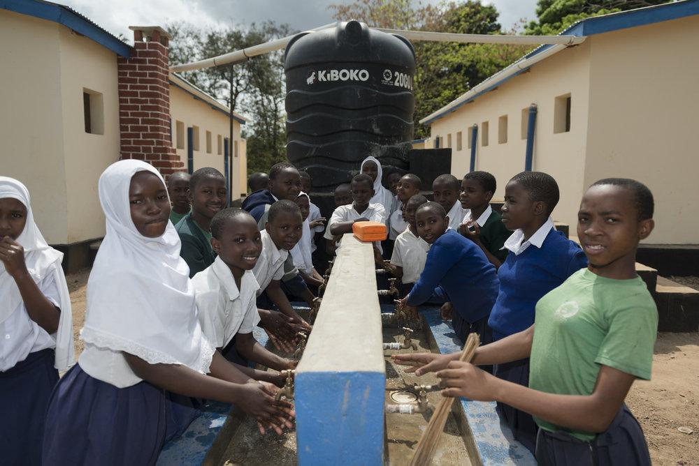 Hand washing station in Mwaya