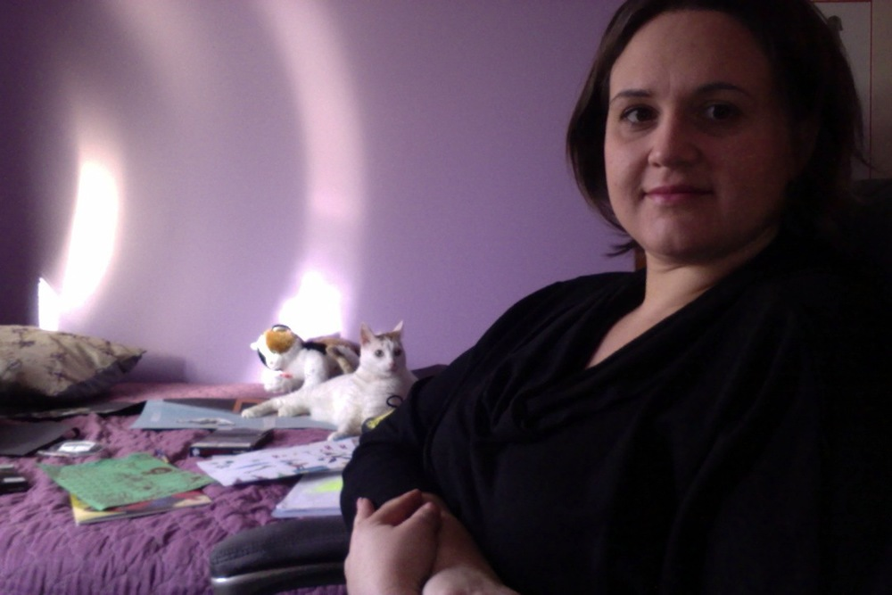 Leia and me in the home office/guest room/cat bed/Nathan's art area.