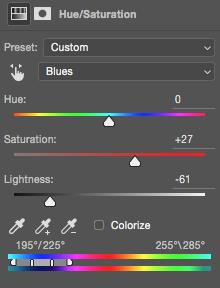 Blue adjustments