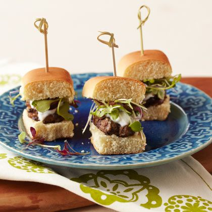 yum- Mini Greek sliders with Garlic Sauce & MicroGreens
