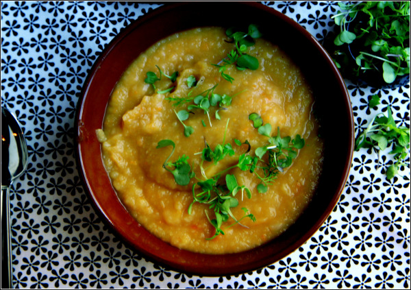 http://gathering-flavors.com/2013/11/06/golden-potato-soup-with-turnips-and-microgreens/