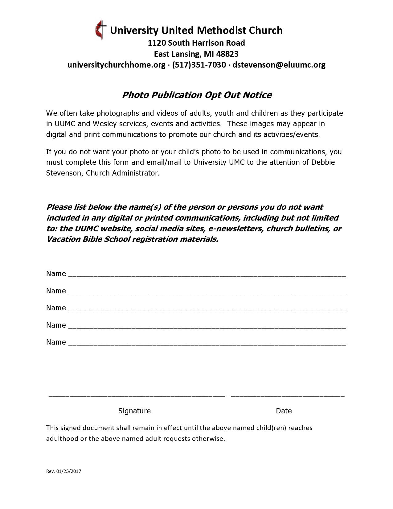 Photo Opt Out Form — University United Methodist Church on church media training, church purchase order form, church work order forms,