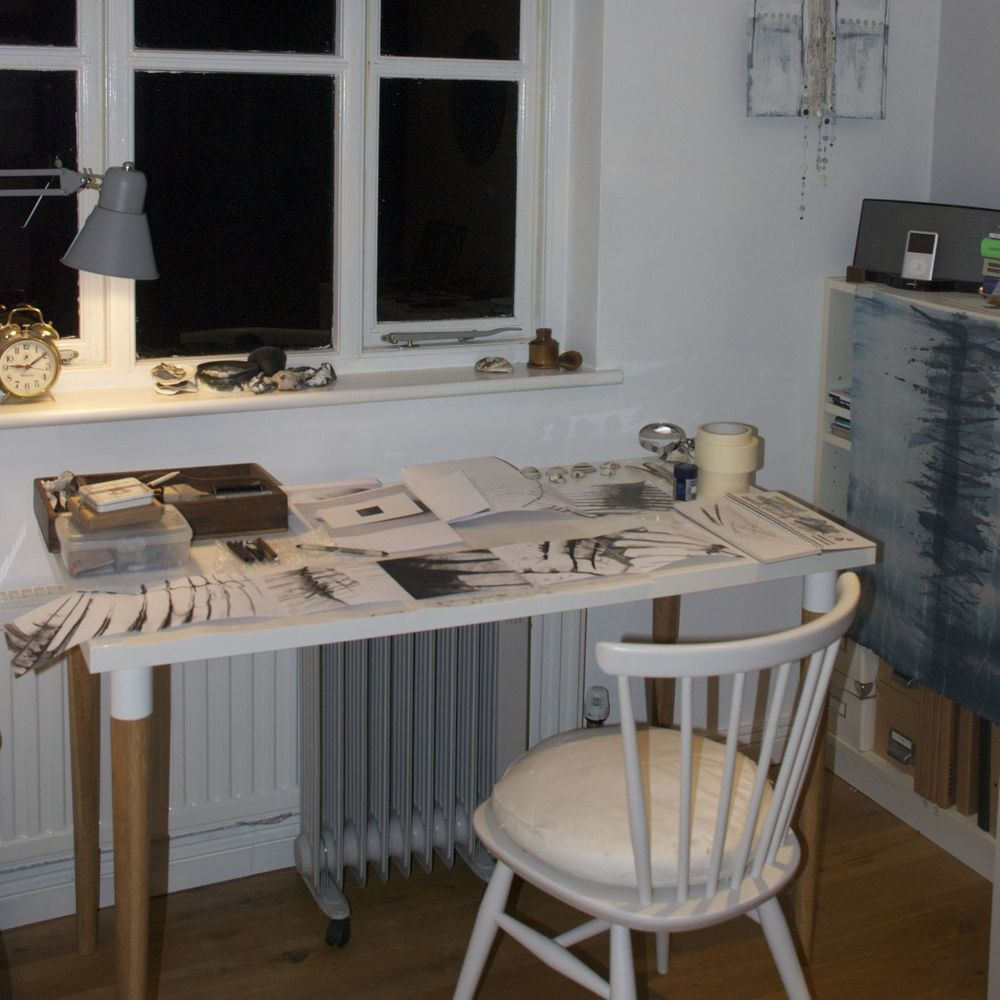 Drawing table indoors