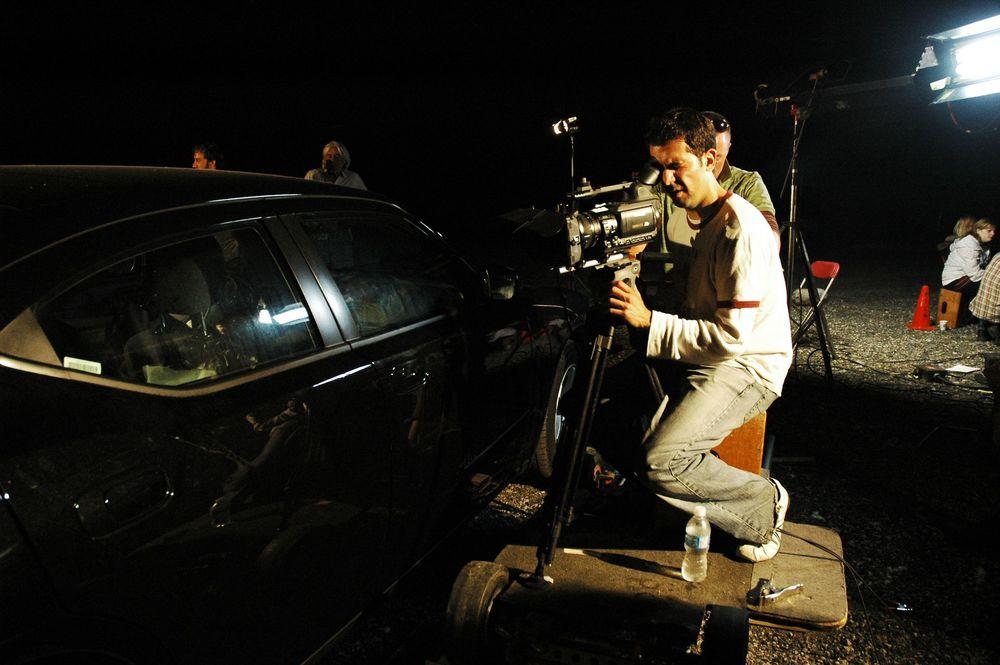Cinematographer Alex Dacev running through a technical rehearsal