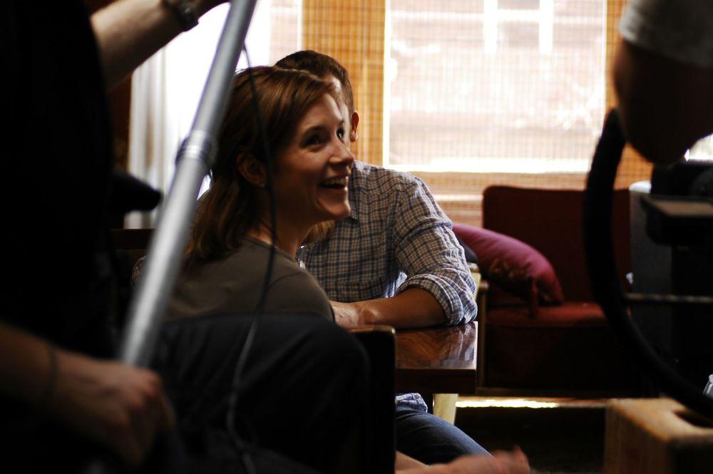 Lead Actress Jodi Behan joking in between takes