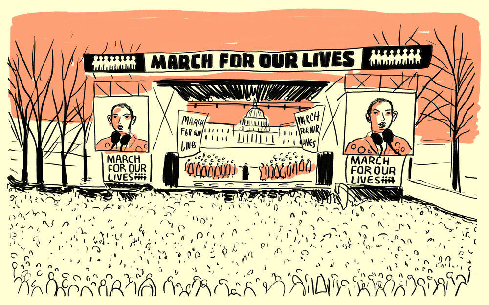 Illustrated Scenes from the 'March For Our Lives'  for NPR.org, 2018, Washington, D.C.