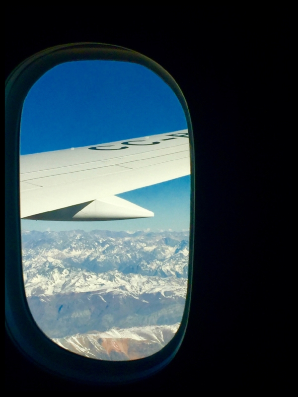 Flying over the Andes.