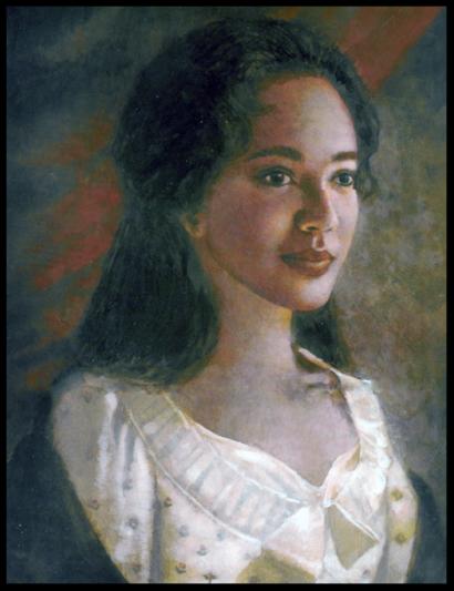 Un retrato de Hemings pintado póstumamente basado en descripciones dadas por aquellos que la conocieron.