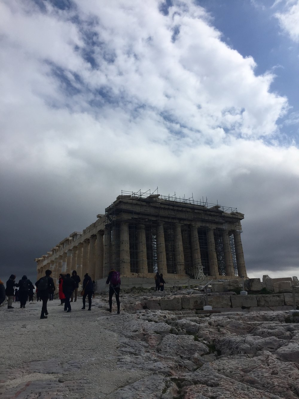 The Parthenon (first constructed around 447 B.C.E.) was dedicated to the goddess Athena at the height of the Athenian Empire's power.