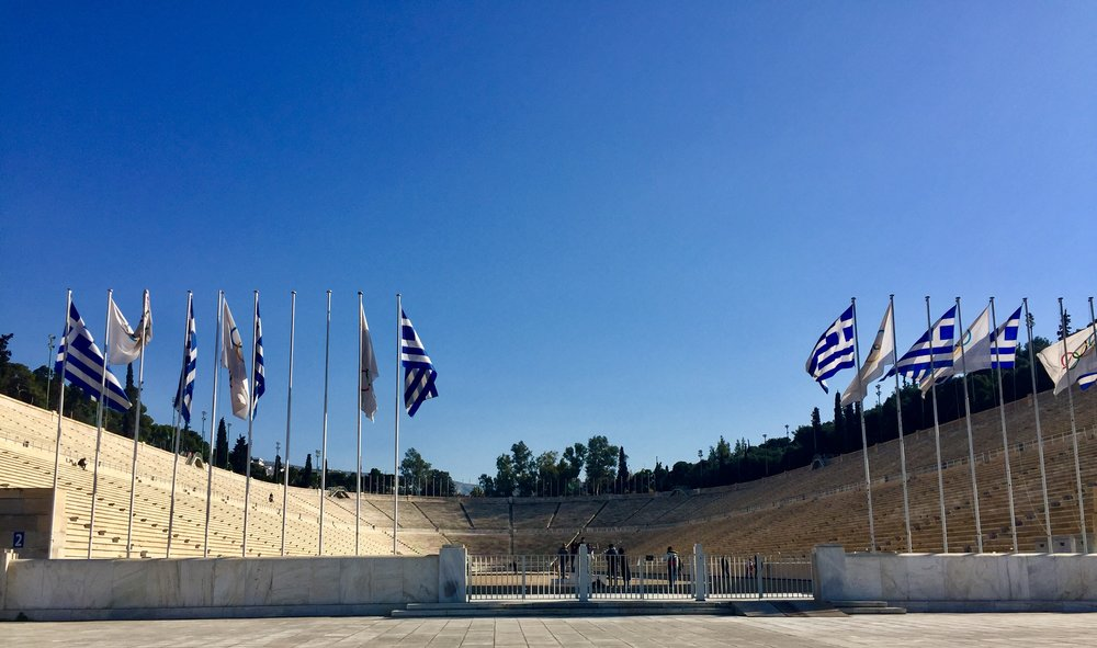 Panathenaic Stadium (the course was built in the sixth century B.C.E., but the marble seating came in 144 C.E.)