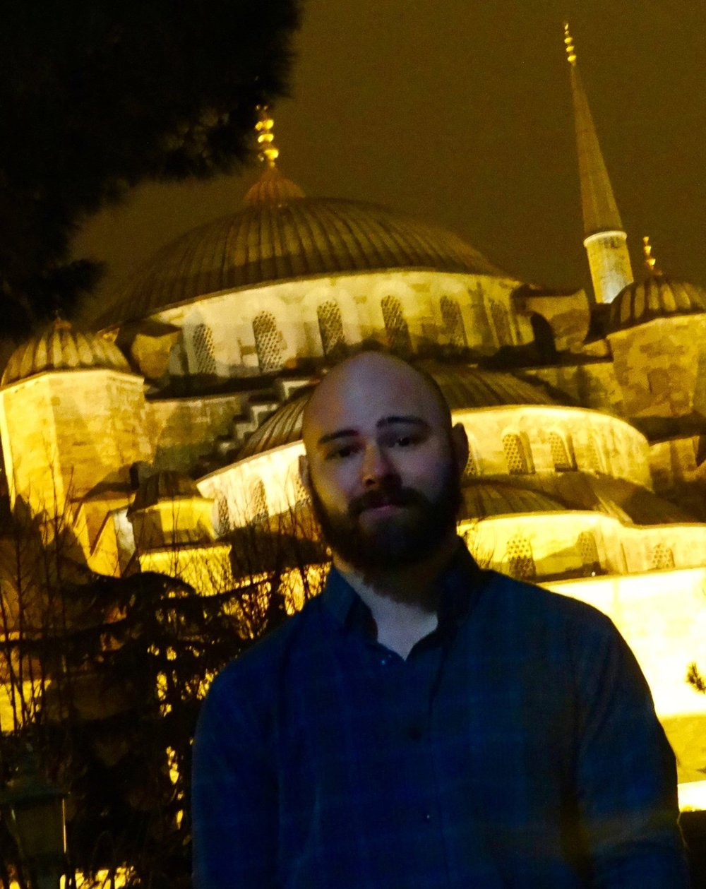 "Outside the Sultan Ahmed Mosque (or ""Blue Mosque""), built in 1616."
