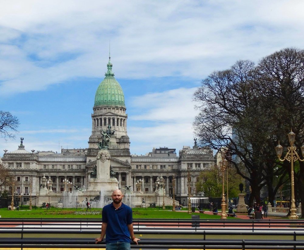 In front of the national congress building at the city center in Buenos Aires.