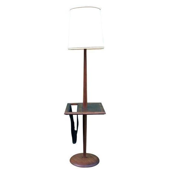 Vintage Mid Century Modern Floor Lamp w/ Vinyl Magazine Holder