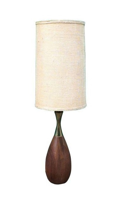 Vintage Walnut Mid Century Modern Table Lamp
