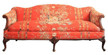 Antique Orange Camelback Sofa