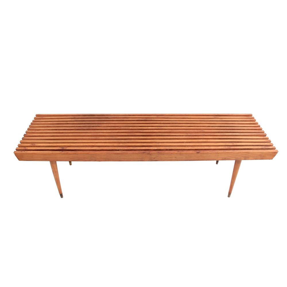 Long Vintage Mid Century Modern Slat Bench