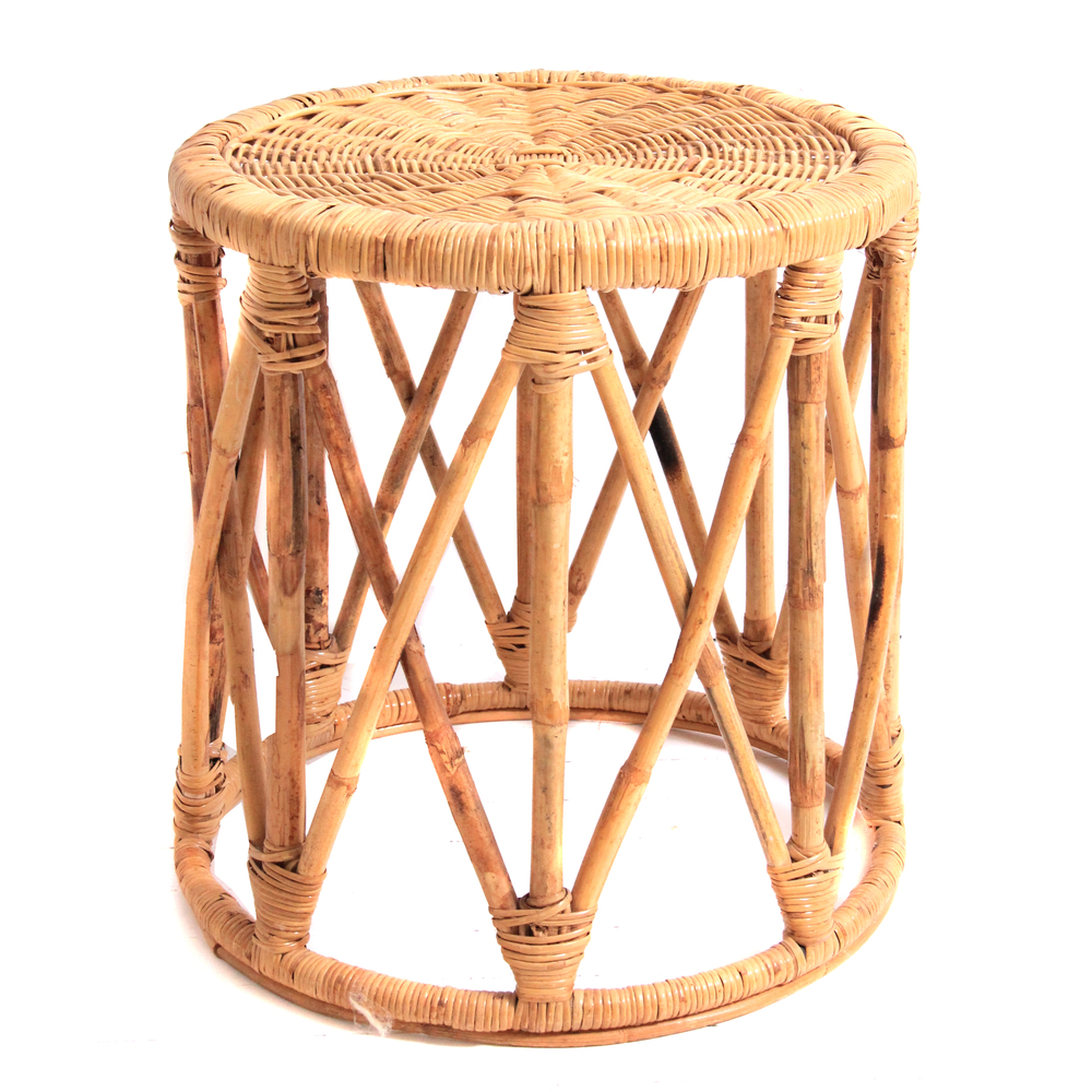 Vintage Bamboo and Wicker Side Table